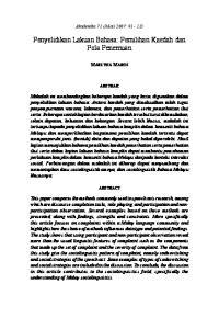 Penyelidikan Lakuan Bahasa: Pemilihan Kaedah dan Pola Penemuan