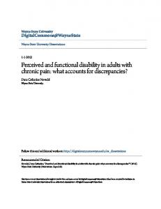 Perceived and functional disability in adults with chronic pain: what accounts for discrepancies?