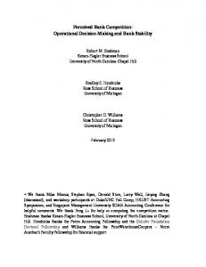 Perceived Bank Competition: Operational Decision-Making and Bank Stability