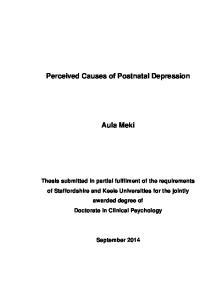 Perceived Causes of Postnatal Depression Aula Meki
