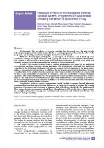 Perceived Effects of the Malaysian National Tobacco Control Programme on Adolescent Smoking Cessation: A Qualitative Study
