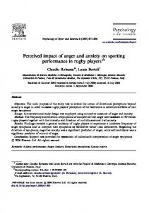 Perceived impact of anger and anxiety on sporting performance in rugby players $