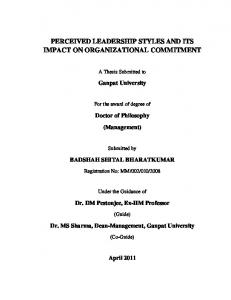 PERCEIVED LEADERSHIP STYLES AND ITS IMPACT ON ORGANIZATIONAL COMMITMENT
