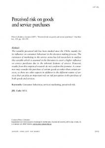 Perceived risk on goods and service purchases