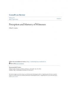 Perception and Memory of Witnesses