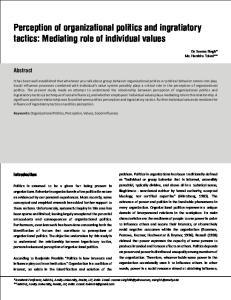 Perception of organizational politics and ingratiatory tactics: Mediating role of individual values