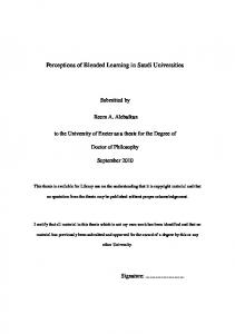 Perceptions of Blended Learning in Saudi Universities