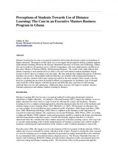 Perceptions of Students Towards Use of Distance Learning: The Case in an Executive Masters Business Program in Ghana