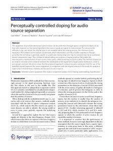 Perceptually controlled doping for audio source separation
