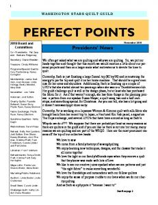 PERFECT POINTS. Presidents News WASHINGTON STARS QUILT GUILD Board and Committees