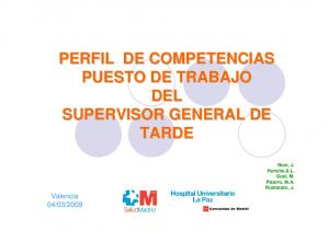 PERFIL DE COMPETENCIAS PUESTO DE TRABAJO DEL SUPERVISOR GENERAL DE TARDE