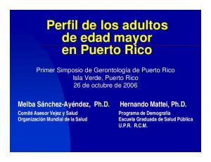 Perfil de los adultos de edad mayor en Puerto Rico