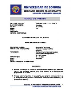 PERFIL DE PUESTO DESCRIPCION GENERAL DEL PUESTO ESPECIFICACION DEL PUESTO FUNCIONES