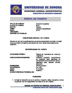 PERFIL DE PUESTO DESCRIPCION GENERAL DEL PUESTO