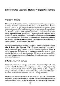 Perfil humano: Desarrollo Humano y Seguridad Humana
