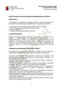 Perfil Profesional: Servicios Auxiliares de Mantenimiento de Edificios