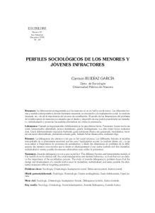 PERFILES SOCIOLÓGICOS DE LOS MENORES Y JÓVENES INFRACTORES