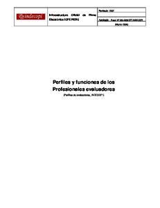 Perfiles y funciones de los Profesionales evaluadores