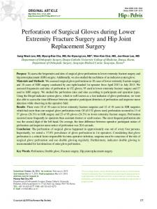 Perforation of Surgical Gloves during Lower Extremity Fracture Surgery and Hip Joint Replacement Surgery
