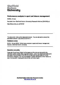 Performance analysis in sport and leisure management