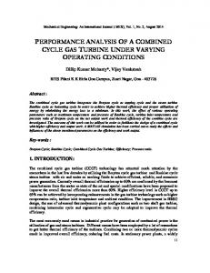 PERFORMANCE ANALYSIS OF A COMBINED CYCLE GAS TURBINE UNDER VARYING OPERATING CONDITIONS