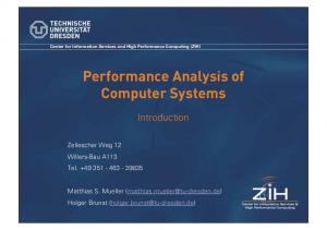 Performance Analysis of Computer Systems
