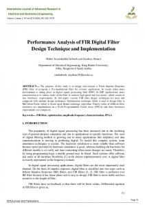 Performance Analysis of FIR Digital Filter Design Technique and Implementation