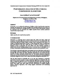 PERFORMANCE ANALYSIS OF MULTIMEDIA COMPRESSION ALGORITHMS