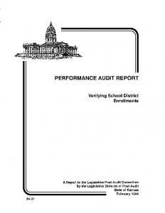 PERFORMANCE AUDIT REPORT