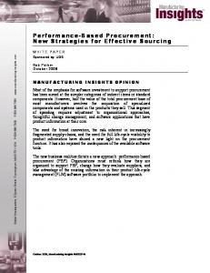 Performance-Based Procurement: New Strategies for Effective Sourcing