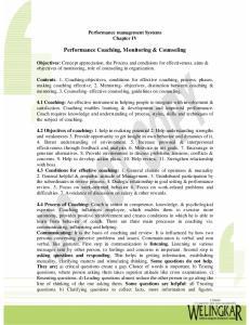 Performance Coaching, Monitoring & Counseling