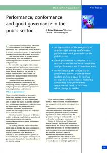 Performance, conformance and good governance in the public sector