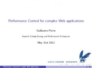 Performance Control for complex Web applications