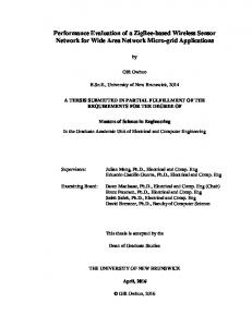 Performance Evaluation of a ZigBee-based Wireless Sensor Network for Wide Area Network Micro-grid Applications