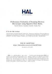 Performance Evaluation of Scanning Electron Microscopes using Signal-to-Noise Ratio
