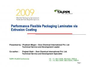 Performance Flexible Packaging Laminates via Extrusion Coating