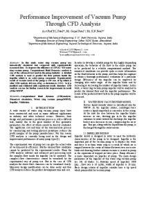 Performance Improvement of Vacuum Pump Through CFD Analysis