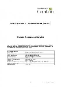 PERFORMANCE IMPROVEMENT POLICY. Human Resources Service