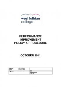 PERFORMANCE IMPROVEMENT POLICY & PROCEDURE