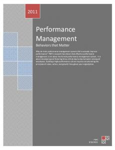 Performance Management Behaviors that Matter