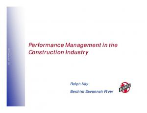 Performance Management in the Construction Industry