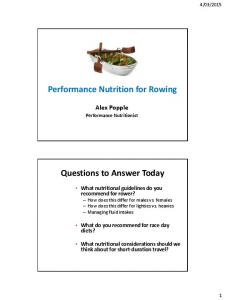 Performance Nutrition for Rowing