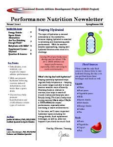 Performance Nutrition Newsletter