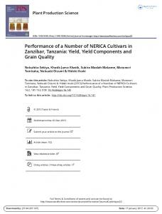 Performance of a Number of NERICA Cultivars in Zanzibar, Tanzania: Yield, Yield Components and Grain Quality