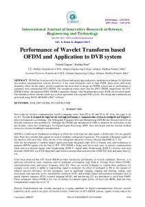 Performance of Wavelet Transform based OFDM and Application to DVB system