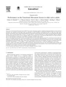 Performance on the Functional Movement Screen in older active adults