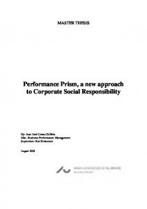 Performance Prism, a new approach to Corporate Social Responsibility