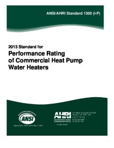Performance Rating of Commercial Heat Pump Water Heaters