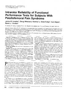 Performance Tests for subjects with Patellofemoral Pain Syndrome