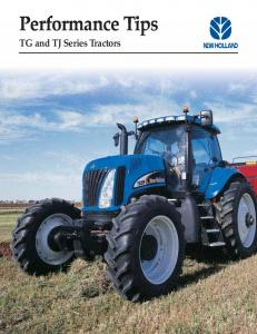 Performance Tips TG and TJ Series Tractors